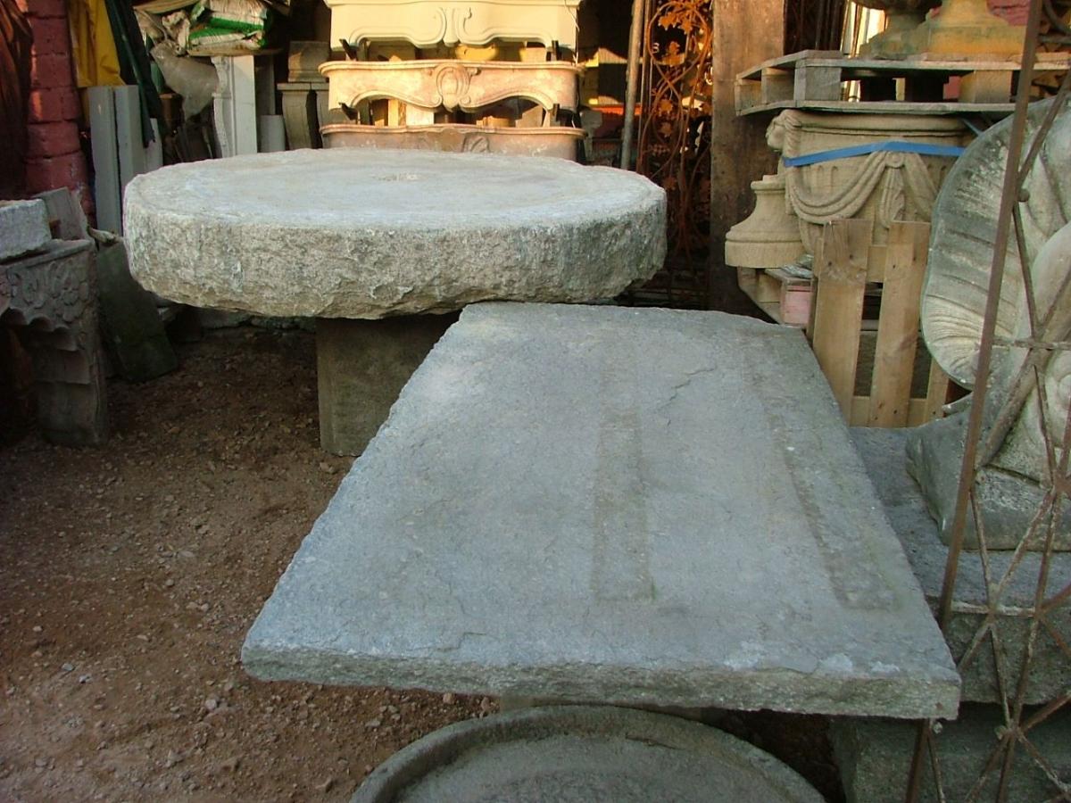 Tavoli e sedie balcone in pietra di luserna con base x tavolo - Tavolo con base in pietra ...